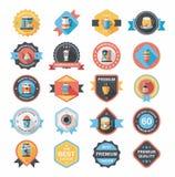 咖啡徽章设计平的背景集合, eps10 免版税库存照片