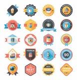 咖啡徽章设计平的背景集合, eps10 免版税图库摄影