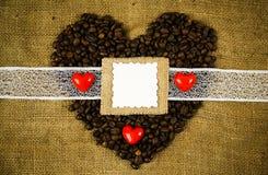 咖啡心脏 免版税库存照片