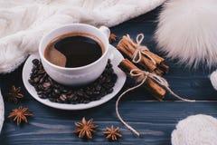 咖啡或巧克力用桂香和badian -冬天静物画 库存照片