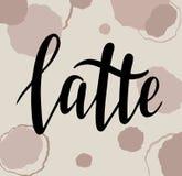 咖啡拿铁传染媒介Handlettering 向量例证