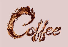 咖啡文本由咖啡飞溅传染媒介设计元素制成 库存照片