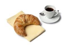 咖啡新月形面包浓咖啡法语 库存照片