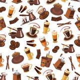 咖啡无缝的样式用豆,杯子,磨房 皇族释放例证