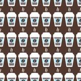 咖啡无缝的样式,传染媒介背景 杯和豆 对于恋人 免版税库存图片