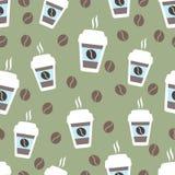 咖啡无缝的样式,传染媒介背景 杯和豆 对于恋人 图库摄影