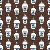 咖啡无缝的样式,传染媒介背景 杯和豆 对于恋人 免版税库存照片