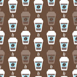 咖啡无缝的样式,传染媒介背景 杯和豆 对于恋人 库存图片