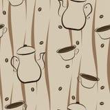 咖啡无缝的背景 免版税库存图片
