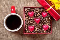 咖啡日存在华伦泰 库存照片
