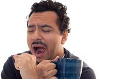 咖啡早晨哈欠 免版税库存照片