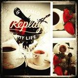 咖啡早餐褐色咖啡因杯子咖啡馆果子 免版税库存照片