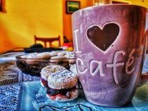 咖啡时间用曲奇饼 库存图片