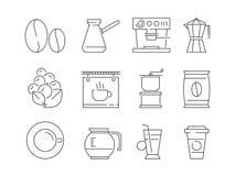 咖啡时间象 编辑食物机器浓咖啡传染媒介线性稀薄的标志的茶和热的饮料杯子 库存例证