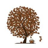 咖啡时间。您的设计的艺术树 免版税库存照片