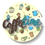 咖啡时间,在书法上写字 也corel凹道例证向量 免版税库存照片