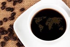 咖啡映射世界 免版税库存照片