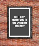 咖啡是在画框写的我喜爱的方式 免版税图库摄影