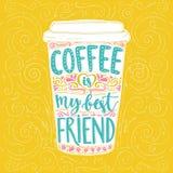 咖啡是我的最好的朋友 图库摄影