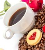 咖啡曲奇饼断裂代表咖啡因Barista和芳香 免版税库存照片