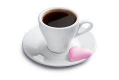咖啡曲奇饼杯子重点粉红色形状 免版税库存照片