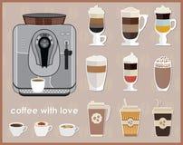 咖啡机器和设备 咖啡象集合 免版税库存图片