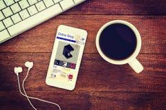 咖啡机器的综合图象在设备屏幕上显示的待售 库存照片