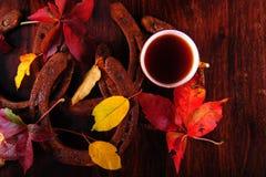 咖啡杯、马掌和叶子 免版税库存照片