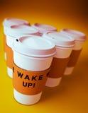 咖啡杯一次性组 免版税库存照片