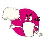 咖啡杯与说明气球的漫画人物 图库摄影