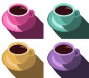 咖啡杯五颜六色的海报 设置咖啡杯传染媒介例证流行艺术样式传染媒介例证 库存照片