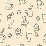 咖啡杯五颜六色的逗人喜爱的无缝的样式 免版税库存照片