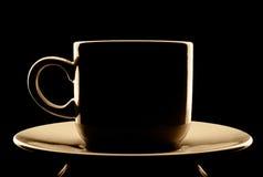 咖啡杯剪影 免版税库存照片