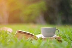 咖啡杯和书在绿草 免版税库存照片