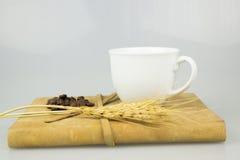 咖啡杯和书孤立背景 免版税库存图片