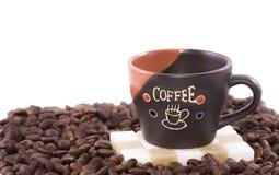 咖啡杯和咖啡豆 库存图片