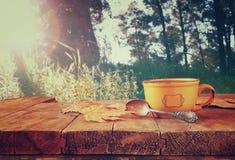 咖啡杯和在森林背景前面的秋叶的前面图象在木桌的 棒图象夫人减速火箭的抽烟的样式 库存照片