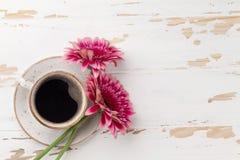 咖啡杯和大丁草花 图库摄影