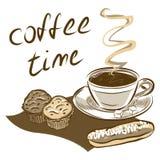 咖啡杯和蛋糕 拉长的现有量向量 皇族释放例证