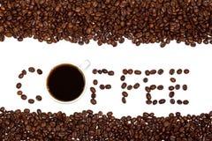 咖啡杯和豆 库存图片