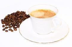 咖啡杯和豆 免版税库存照片