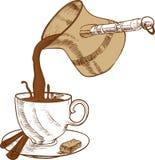 咖啡杯和cezve 库存图片