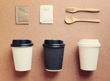 咖啡杯嘲笑为烙记从顶视图的身分 图库摄影