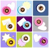 咖啡杯图标甜点 免版税库存照片