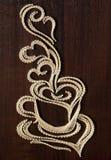 咖啡杯字符串艺术 免版税库存图片