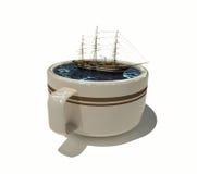 咖啡杯帆船 免版税库存照片