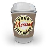 咖啡杯我早晨拾起您 免版税库存照片