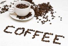 咖啡杯文本 库存图片