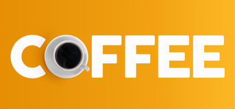 咖啡杯构思设计顶视图横幅 免版税图库摄影