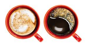 咖啡杯查出在顶视图白色 免版税库存照片